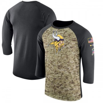 Men's Nike Minnesota Vikings Camo /Anthracite Salute to Service 2017 Sideline Performance Three-Quarter Sleeve T-Shirt - Legend