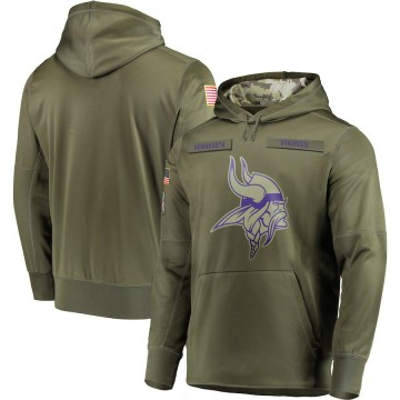 Men's Nike Minnesota Vikings Olive 2018 Salute to Service Sideline Therma Performance Pullover Hoodie -