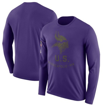 Men's Nike Minnesota Vikings Purple 2018 Salute to Service Sideline Performance Long Sleeve T-Shirt - Legend