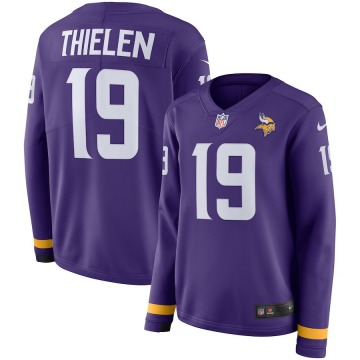 Women's Nike Minnesota Vikings Adam Thielen Purple Therma Long Sleeve Jersey -