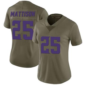 Women's Nike Minnesota Vikings Alexander Mattison Green 2017 Salute to Service Jersey - Limited