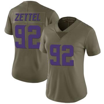 Women's Nike Minnesota Vikings Anthony Zettel Green 2017 Salute to Service Jersey - Limited