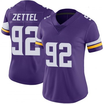 Women's Nike Minnesota Vikings Anthony Zettel Purple 100th Vapor Jersey - Limited