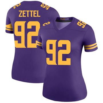 Women's Nike Minnesota Vikings Anthony Zettel Purple Color Rush Jersey - Legend
