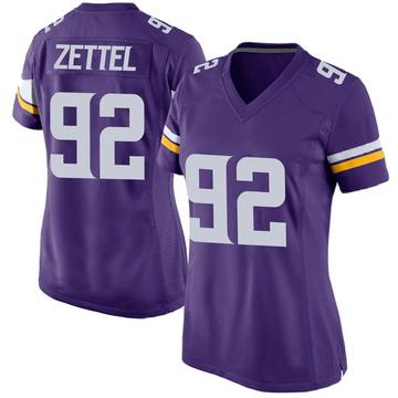 Women's Nike Minnesota Vikings Anthony Zettel Purple Team Color Jersey - Game