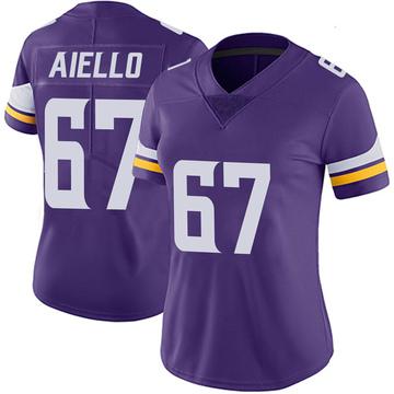 Women's Nike Minnesota Vikings Brady Aiello Purple 100th Vapor Jersey - Limited