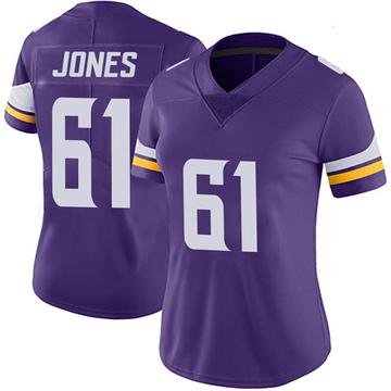 Women's Nike Minnesota Vikings Brett Jones Purple 100th Vapor Jersey - Limited