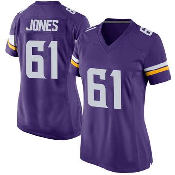 Women's Nike Minnesota Vikings Brett Jones Purple Team Color Jersey - Game