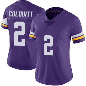 Women's Nike Minnesota Vikings Britton Colquitt Purple 100th Vapor Jersey - Limited
