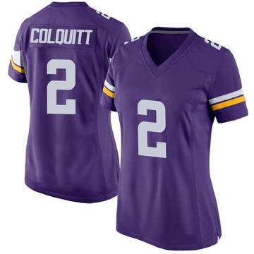 Women's Nike Minnesota Vikings Britton Colquitt Purple Team Color Jersey - Game