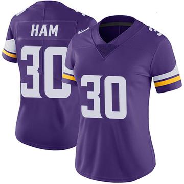 Women's Nike Minnesota Vikings C.J. Ham Purple 100th Vapor Jersey - Limited