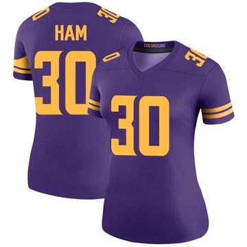 Women's Nike Minnesota Vikings C.J. Ham Purple Color Rush Jersey - Legend