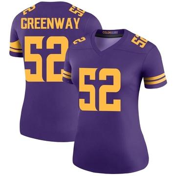 Women's Nike Minnesota Vikings Chad Greenway Purple Color Rush Jersey - Legend