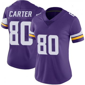 Women's Nike Minnesota Vikings Cris Carter Purple 100th Vapor Jersey - Limited