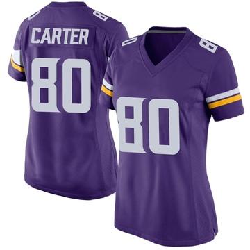 Women's Nike Minnesota Vikings Cris Carter Purple Team Color Jersey - Game