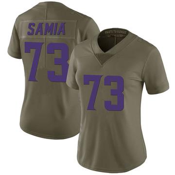 Women's Nike Minnesota Vikings Dru Samia Green 2017 Salute to Service Jersey - Limited