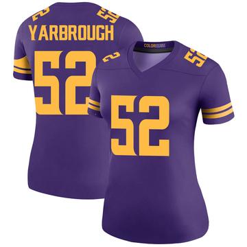 Women's Nike Minnesota Vikings Eddie Yarbrough Purple Color Rush Jersey - Legend