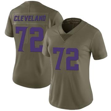 Women's Nike Minnesota Vikings Ezra Cleveland Green 2017 Salute to Service Jersey - Limited