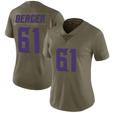 Women's Nike Minnesota Vikings Joe Berger Green 2017 Salute to Service Jersey - Limited