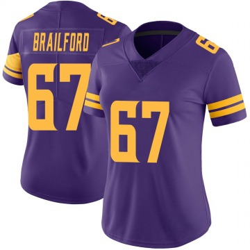 Women's Nike Minnesota Vikings Jordan Brailford Purple Color Rush Jersey - Limited
