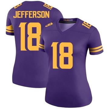 Women's Nike Minnesota Vikings Justin Jefferson Purple Color Rush Jersey - Legend