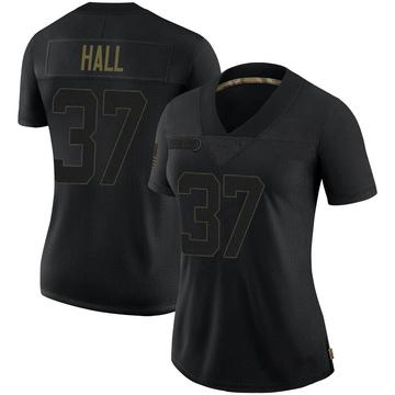 Women's Nike Minnesota Vikings Kemon Hall Black 2020 Salute To Service Jersey - Limited