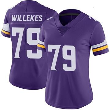 Women's Nike Minnesota Vikings Kenny Willekes Purple Team Color Vapor Untouchable Jersey - Limited