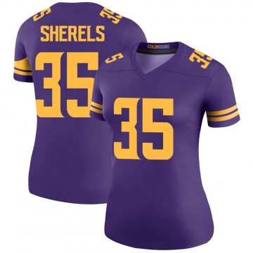 Women's Nike Minnesota Vikings Marcus Sherels Purple Color Rush Jersey - Legend