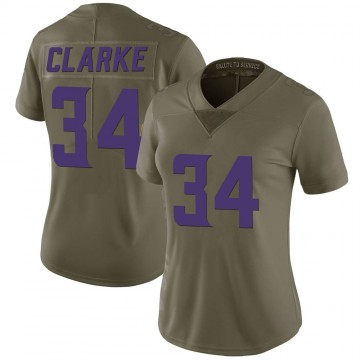 Women's Nike Minnesota Vikings Nevelle Clarke Green 2017 Salute to Service Jersey - Limited