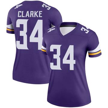Women's Nike Minnesota Vikings Nevelle Clarke Purple Jersey - Legend
