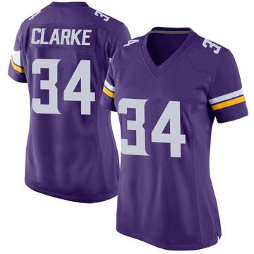 Women's Nike Minnesota Vikings Nevelle Clarke Purple Team Color Jersey - Game