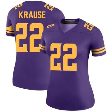 Women's Nike Minnesota Vikings Paul Krause Purple Color Rush Jersey - Legend