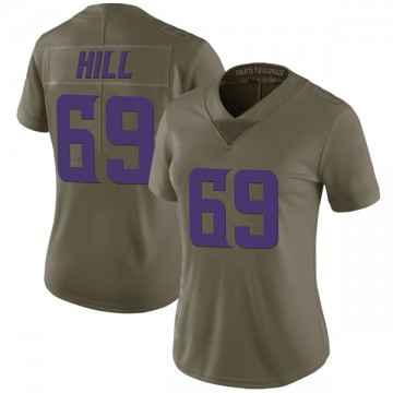 Women's Nike Minnesota Vikings Rashod Hill Green 2017 Salute to Service Jersey - Limited