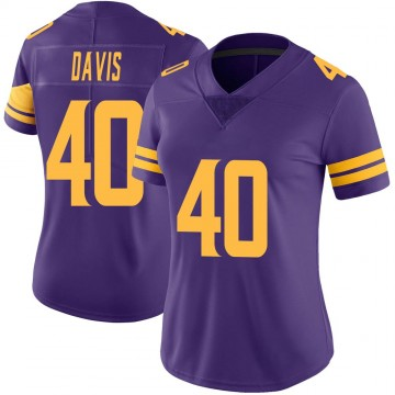 Women's Nike Minnesota Vikings Todd Davis Purple Color Rush Jersey - Limited