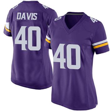 Women's Nike Minnesota Vikings Todd Davis Purple Team Color Jersey - Game