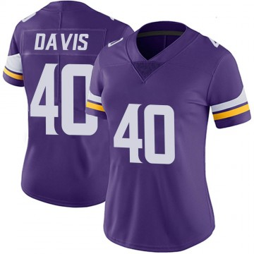 Women's Nike Minnesota Vikings Todd Davis Purple Team Color Vapor Untouchable Jersey - Limited
