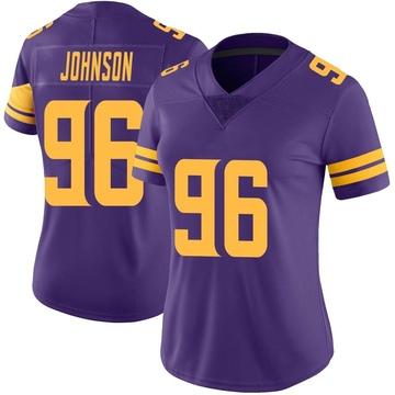 Women's Nike Minnesota Vikings Tom Johnson Purple Color Rush Jersey - Limited