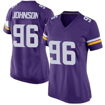 Women's Nike Minnesota Vikings Tom Johnson Purple Team Color Jersey - Game