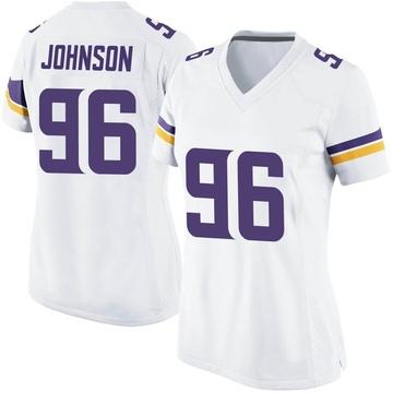 Women's Nike Minnesota Vikings Tom Johnson White Jersey - Game