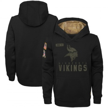 Youth Nike Minnesota Vikings Black 2020 Salute to Service Pullover Performance Hoodie -
