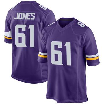 Youth Nike Minnesota Vikings Brett Jones Purple Team Color Jersey - Game