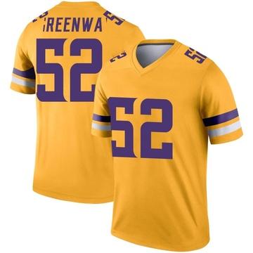 Youth Nike Minnesota Vikings Chad Greenway Gold Inverted Jersey - Legend