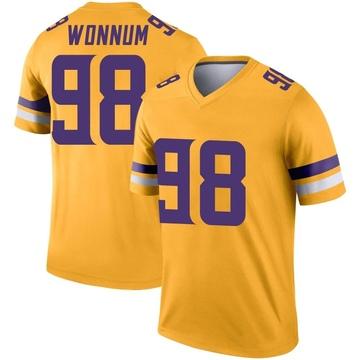 Youth Nike Minnesota Vikings D.J. Wonnum Gold Inverted Jersey - Legend