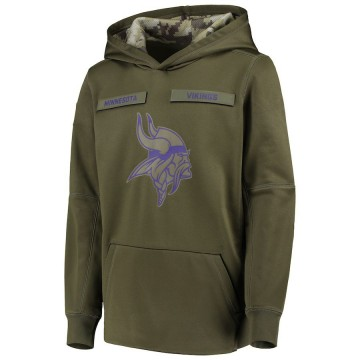 Youth Nike Minnesota Vikings Green 2018 Salute to Service Pullover Performance Hoodie -