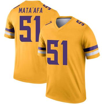 Youth Nike Minnesota Vikings Hercules Mata'afa Gold Inverted Jersey - Legend