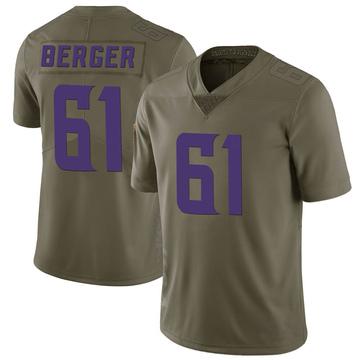 Youth Nike Minnesota Vikings Joe Berger Green 2017 Salute to Service Jersey - Limited