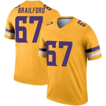 Youth Nike Minnesota Vikings Jordan Brailford Gold Inverted Jersey - Legend
