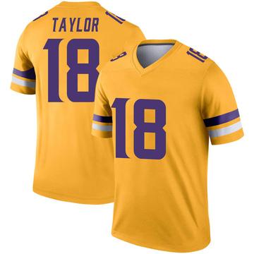 Youth Nike Minnesota Vikings Jordan Taylor Gold Inverted Jersey - Legend