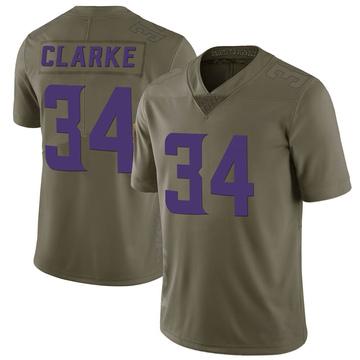 Youth Nike Minnesota Vikings Nevelle Clarke Green 2017 Salute to Service Jersey - Limited