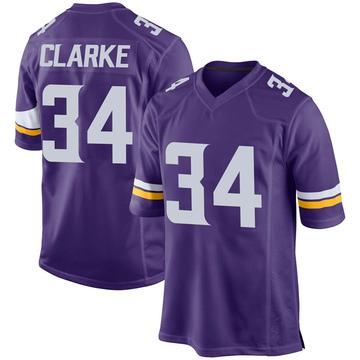 Youth Nike Minnesota Vikings Nevelle Clarke Purple Team Color Jersey - Game